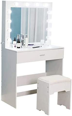 31X4%2BEp5HXL. AC Vanity Set with Lighted Mirror, Makeup Vanity Dressing Table Dresser Desk with Large Drawer for Bedroom, Walnut Bedroom Furniture(12 Cool LED Bulbs) (White, A)    Product description