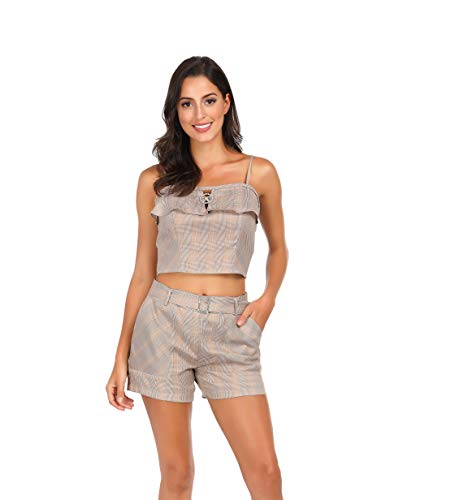 (Awalis Women's 2 Piece Outfits Summer Sleeveless Crop Cami Top with Shorts Set, Medium, Beige)