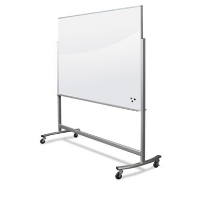 Best-Rite Visionary Move Double Sided Mobile Magnetic Glass Whiteboard Easel, 4x6 Feet, (74951) (Glass Visionary)