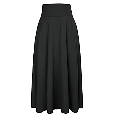 UOFOCO Skirts Women Maxi Skirt High Waist Pleated A Line Long Front Slit Belted