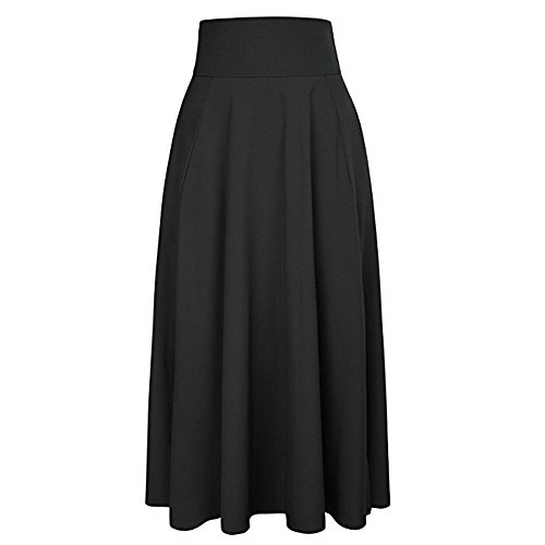 UOFOCO Skirts for Women Maxi Skirt High Waist Pleated A Line Long Front Slit Belted Black