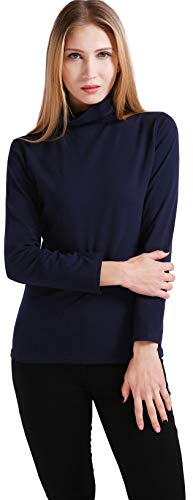Ishopping Women's Soft Cotton Long Sleeve T-Shirt/Turtle Neck Top(Navy ()