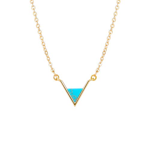 Triangle Turquoise Necklace - V Turquoise Choker Necklace 18k Gold Triangle Geometric Pendant Layering Minimalist Jewelry for Women Girls.
