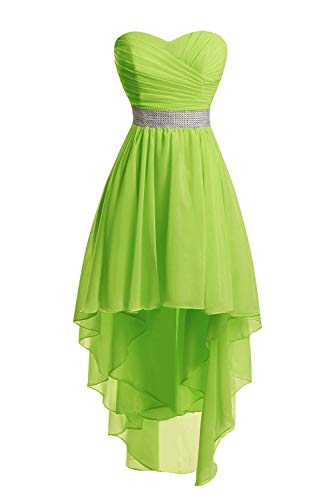 Women's Chiffon Hi-Low Beading Prom Dresses Evening Homecoming Cocktail Gowns Lime Green US6 (Beading Neck Chiffon Sweetheart)
