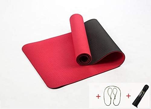 Yoga mat 6MM TPEノンスリップ弾性ヨガマットについては初心者環境フィットネスピラティスマットラミネート多色カーペットジムエクササイズマット workout (色 : Red)