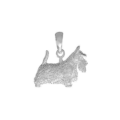 (925 Sterling Silver Dog Charm Pendant, 3-D Scottish Terrier (Scotty))