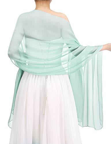 (Bbonlinedress Women's Soft Chiffon Shawls for Evening Dresses Fashion Scarves Wraps for Bridal Wedding Party Mint 190x70)