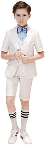 男の子の スーツ ボーイズスーツ5ピーススリムフィッ,ブレザー ,ベスト、ズボン、シャツ、ボウタイ