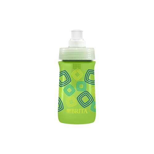 Brita 10060258357629 35762 13 Ounce Kids Sport Water Bottle with Filter-BPA Free-Green Squares