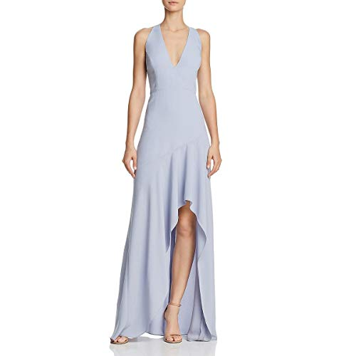 BCBG Max Azria Womens Obree Hi-Low Halter Formal Dress Blue 8 ()