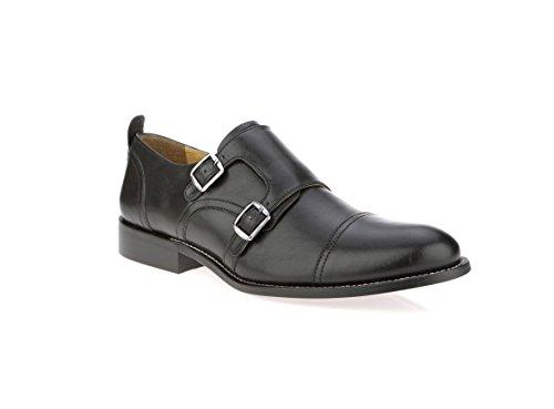 Liberty Men's Leather Double Buckle Monk Strap Cap-Toe Dress Shoes Monk Leather