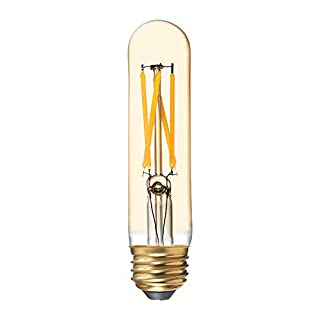 GE Tube LED Vintage Light Bulb, T9 Amber Glass LED Edison Bulb (60 Watt Replacement Dimmable LED Light Bulbs), 500 Lumen, Medium Base Light Bulbs, 1-Pack E26 Edison Bulb