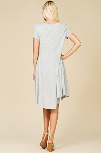 Women's Swing Sleeve Scoop Neck with Short Heather Pockets Dresses Annabelle Comfy Gray AWq6paFAd