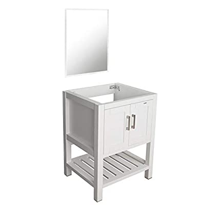 "eclife 24"" White Bathroom Vanity Cabinet Modern Pedestal Cabinet Set Pedestal Stand Wood W/Bathroom Vanity Mirror Soft Closing Cabinet Doors Set (B07W) - ✔ECO-FRIENDLY: MDF eco-friendly material used to make vanity more durable and sturdy; 15mm Thickness and smooth surface board, easy to clean and wear-resistance. ✔EASY to INSTALL: Need to be self-assemble, detailed installation procedure written in installation instruction, bring you an enjoyable DIY experience. ✔DIMENSION: 23.2'' L x 19.7'' W x 31.5'' H White bathroom vanity; 20"" W x 27.6"" H mirror; provides excellent storage for bathrooms with limited space; suitable for small space bathroom and restroom. - bathroom-vanities, bathroom-fixtures-hardware, bathroom - 31X498CmqSL. SS400  -"