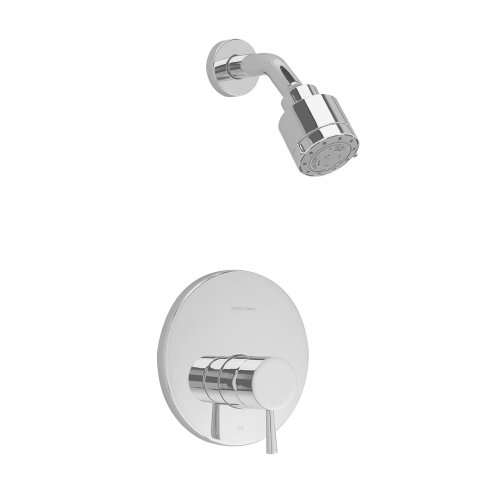 (American Standard T064501.295 Serin Shower Only Trim Kit with 3 Function Adjustable Showerhead and Brass Escutcheon, Satin Nickel)