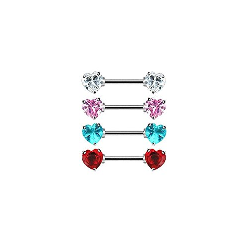 Pair Of Nipple Rings With Jeweled Heart Front-Facing Ends 14G 9/16
