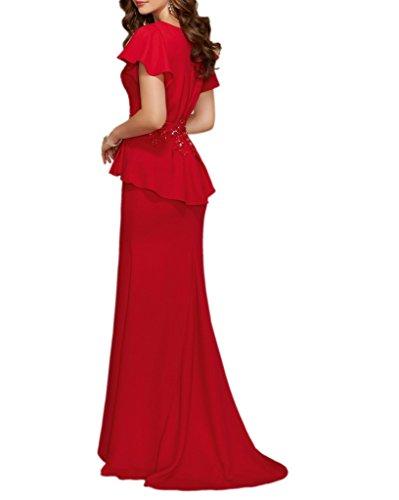 LaMarie Braut Rot Beige Chiffon Kurzarm Abendkleider Partykleider ...