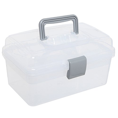 Clear Gray Multipurpose First Aid, Arts & Craft Supply Case / Storage Container Box w/ Removable Tray by MyGift