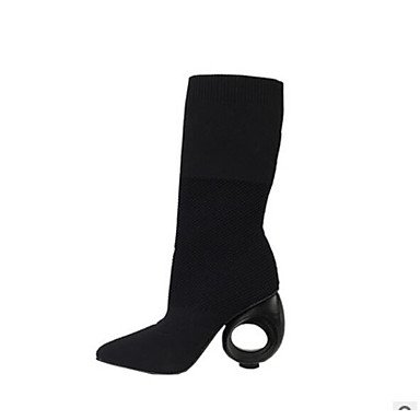 Women's Shoes PU Spring Winter Comfort Boots Flat Heel For Casual Almond Black Black XTNmi