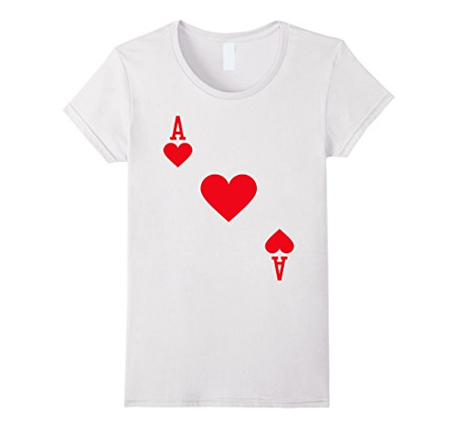 Casino Themed Costume - Womens Ace of Hearts Costume T-Shirt Halloween Deck of Cards XL White