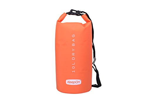 KEEPON Waterproof Dry Bags for Water Sports Kayaking, Canoeing, Fishing Dry Gear Bag and Sack - Durable, Lightweight Floating Backpack - Great For Outdoors, Camping and Hiking (Orange, 10L)