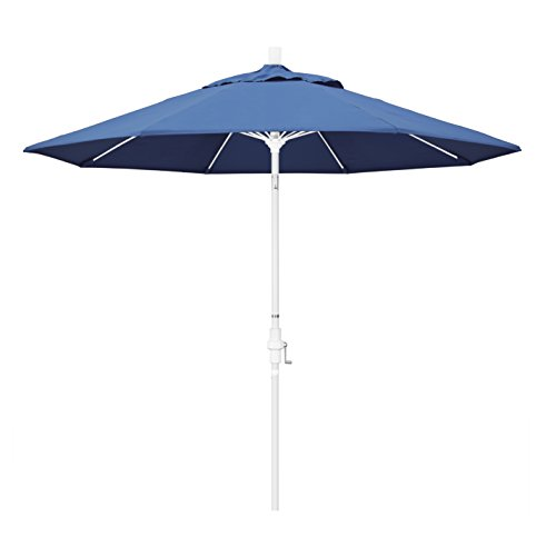 California Umbrella 9' Round Aluminum Pole Fiberglass Rib Market Umbrella, Crank Lift, Collar Tilt, White Pole, Pacifica Capri