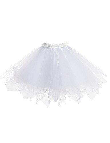LaceLady Women's 1950s Vintage Short Tutu Petticoat Ballet Bubble Tutu Crinoline White - Up Plus Size Costumes Light