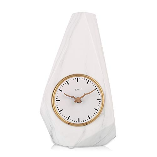 - Table Clock, 3 Inch Silent Vase Clock, Floral Marble Bud Vase Home Decor for Living Room, Showcasing a Single Bud/Tiny Flowers, Battery Operated (1.6 Diameter, White)