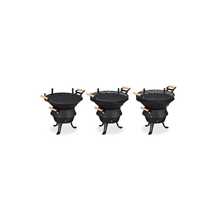 31X4I2HX3pL Forma: barbacoa redonda con una superficie de 35 cm en color negro; tamaño alto x ancho x fondo de aprox. 40 x 45 x 36 cm Eficaz: parrilla con altura ajustable y rejilla con ventilación para carbón vegetal y briquetas Robusta: barbacoa grande de hierro fundido; para el jardín o para ir de acampada