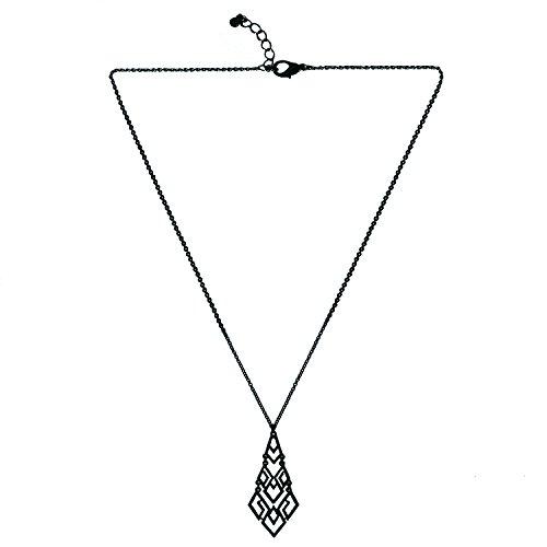 D EXCEED Women's Cutout Diamond Chandelier Pendant Necklace 30