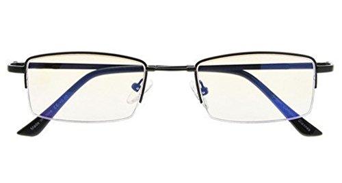 Blue Light Blocking,Reduce Eyestrain,Half-rim Titanium Bridge Computer Gaming Reading Glasses(Black,Amber Tinted Lenses) +0.75 ()