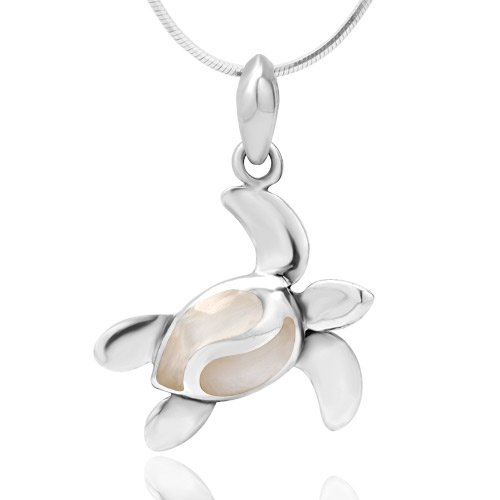 925 Sterling Silver White Mother of Pearl Shell Dangling Sea Turtle Pendant Necklace, 18 inches - Sterling Silver Sea Turtle Pendant