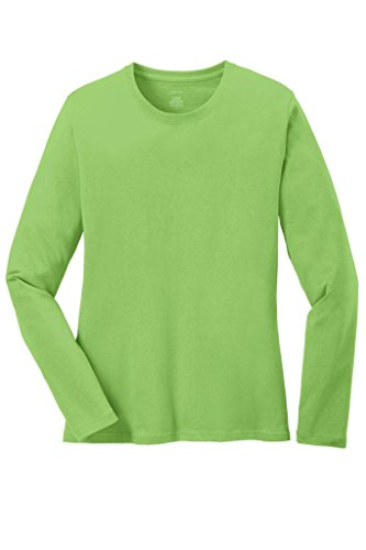 Joe's USA TM - Ladies Long Sleeve 5.4oz 100% Cotton T-Shirt-Lime-XL