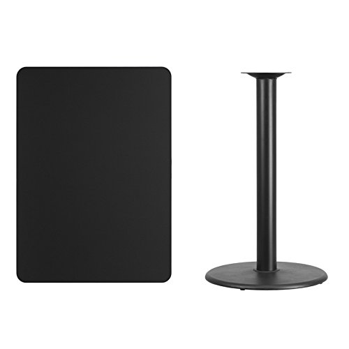 picture of Flash Furniture XU-BLKTB-3042-TR24-GG 30 by 42'' Rectangular Laminate Table Top with 24'' Round Table Height Base, Black