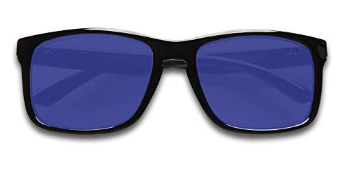 (KZ Gear - The Caribbean FLOATING SUNGLASSES - Medium Glossy Black Frame - Classic Modern Shaped - Blue Polarized UV400)