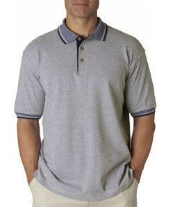 ULTRACLUB 8537 UltraClub® Adult Color-Body Classic Pique Polo with Contrasting Multi-Stripe Trim - Stripe Multi Polo Pique