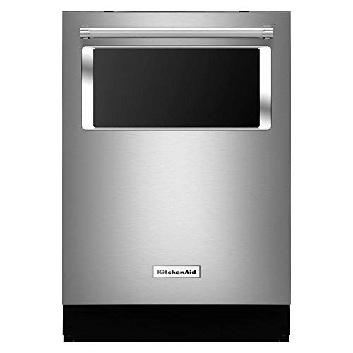 Stainless steel dishwasher with a glass window