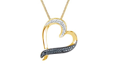 Black & White Round Natural Diamond Heart Pendant Necklace 14k Yellow Gold Over Sterling Silver