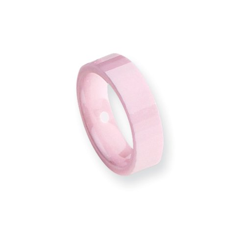 Black Bow Jewelry Pink Ceramic, 6mm Faceted Comfort Fit Band