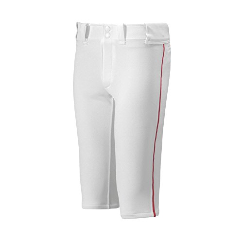 (Mizuno Youth Premier Piped Short Baseball Pant, White-Red, Youth Large)