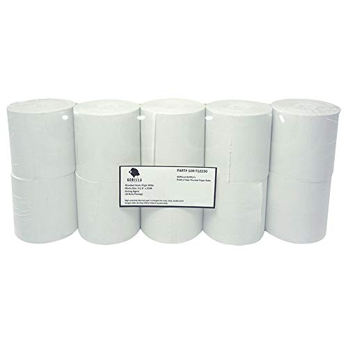 Gorilla Supply Thermal Receipt Paper Rolls 3 1/8 x 230 10 Rolls