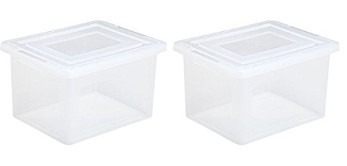 File Storage Box in Clear (2 STORAGE BOXES) by IRIS USA, Inc.