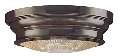 Woodstock 2-Light Flush Mount - Old Bronze Finish with Clear Prismatic Glass Shade