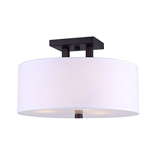 CANARM ISF578A03ORB River Semi-Flush Mount Oil Rubbed Bronze with White Fabric Shade and Glass Diffuser ()
