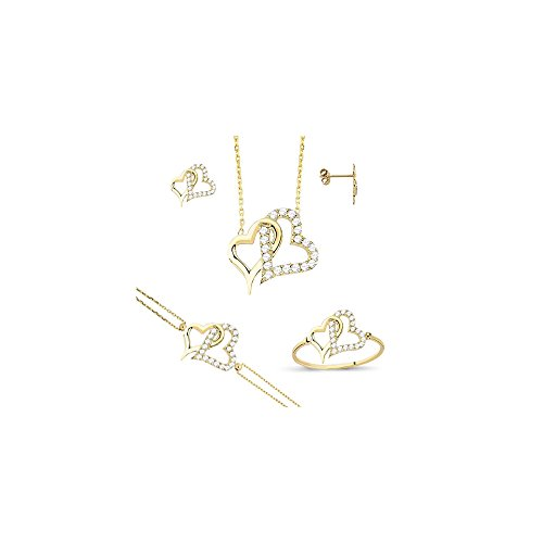 Heart 14k Solid Yellow Gold Jewelry Set 5.70 gr , For Women Quality Jewelry Set Dainty Fine Jewelry Set by Melis Gold (Image #2)