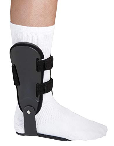 Adjustable Hinged Ankle Brace with Contoured Foot Plate- Right, Large