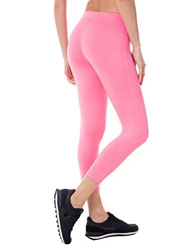 SYROKAN Women's Activewear Running Workout Sports Capri Leggings Pants Hot Pink L (12-14)