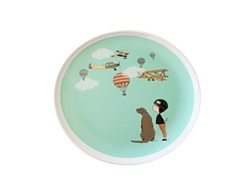 Original illustrated dinner plate for kids, baby, toddler - 8'' round melamine with boy and airplane design