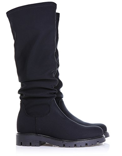 elegant fabric Women simple visible with of rubber Child and yet Girl Girls Black stitching sole boot made FLORENS xq0UI0