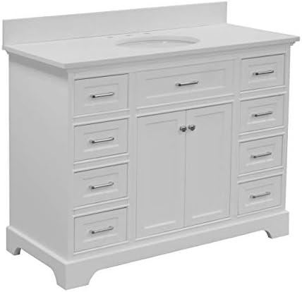 Aria 48-inch Bathroom Vanity Quartz/White : Includes White Cabinet